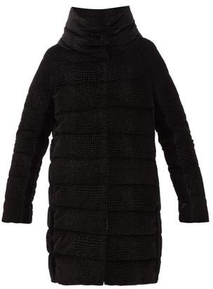 Herno Padded Down Filled Textured Velvet Coat - Womens - Black