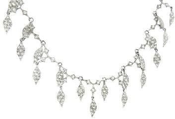 Cathy Waterman Lattice Leaf Necklace with Diamonds - Platinum