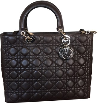 Christian Dior Lady Brown Leather Handbags