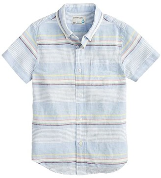crewcuts by J.Crew Short Sleeve Button-Down Shirt Cotton Linen (Toddler/Little Kids/Big Kids) (Blue Multi) Boy's Clothing