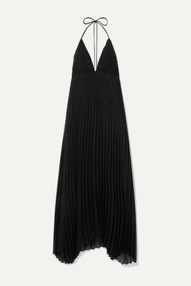 Alice + Olivia Lariette Pleated Chiffon And Crocheted Cotton Halterneck Maxi Dress - Black