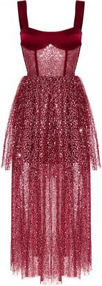 Rasario Sequined Tulle And Satin Midi Dress With Voluminous Skirt