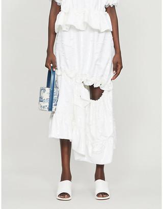 Simone Rocha Sequin-embellished crepe midi skirt