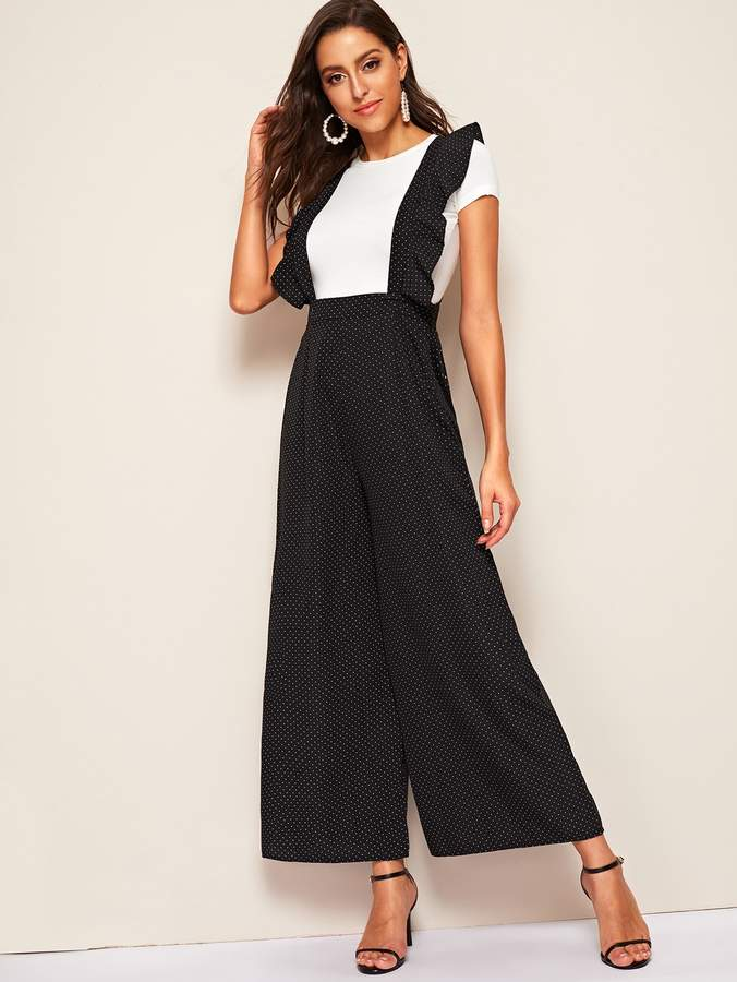 1adfe9fa64 Black Wide Leg Jumpsuit Ruffle - ShopStyle