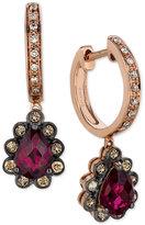 LeVian Le Vian® Fiery Reds Raspberry Rhodolite® Garnet (1-3/4 ct. t.w.) and Diamond (1/3 ct. t.w.) Drop Earrings in 14k Rose Gold