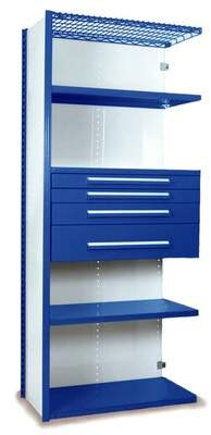 """Equipto V-Grip 84"""" Shelving with Drawers Unit - 4Drw/5Shelf Closed AddOn, 4 drawers - (2) 3"""", 4.5"""" & 7.5"""" H; 400 lb capacity Equipto Finish: Textured Blue, Si"""