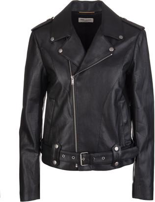 Saint Laurent Woman Black Biker Jacket With Off-centre Zip