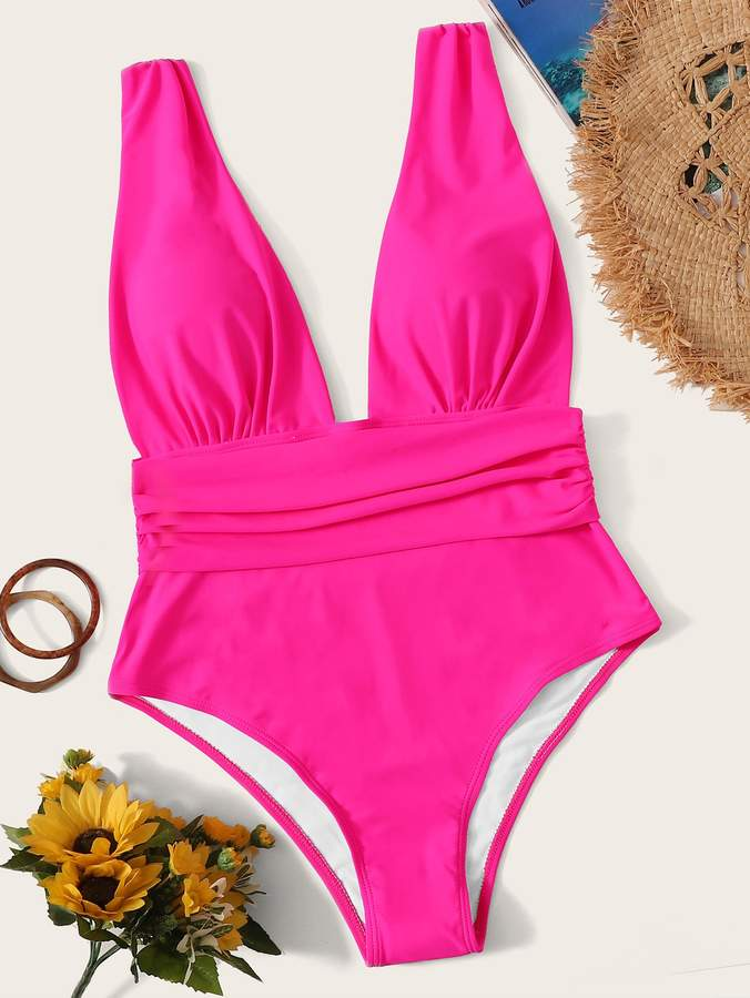 563efd80d3 Shein Pink One Piece Swimsuits - ShopStyle