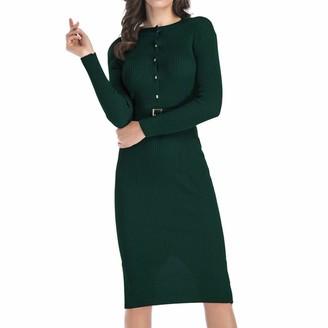 Moginp Dress Moginp Women Winter Knitted Ladies Dress Fashion Long Sleeve Button Back Split Sweater Dresses (Green M)