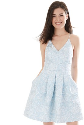 Iz Byer Juniors' Short Box Pleated Criss Cross Strap Dress