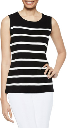 Misook Striped Jewel-Neck Classic Knit Tank