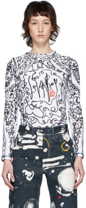 Charles Jeffrey Loverboy White and Black Scribble Sports T-Shirt
