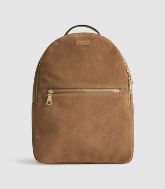 Reiss Grayson - Suede Backpack in Camel