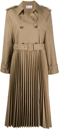 RED Valentino Pleated Double-Breasted Trench Coat