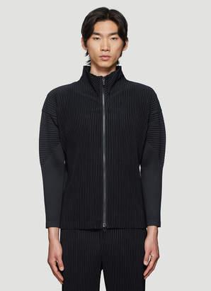 Issey Miyake Homme Plissé Basic Funnel-Neck Zip-Up Jacket in Black