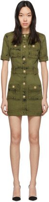 Balmain Khaki Denim Mini Dress