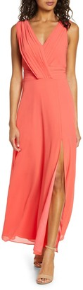 Adelyn Rae Sylvia V-Neck Chiffon Maxi Dress
