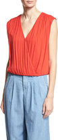 Alice + Olivia Dania Slouchy Crossover Top, Red