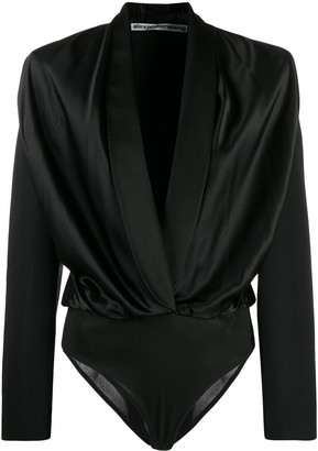 Alexander Wang Deep V Structured Ruch Bodysuit