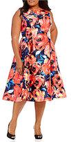 Adrianna Papell Plus Floral-Print Mikado Tea Length Dress