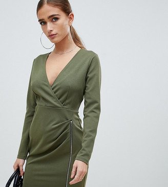 Asos DESIGN Petite mini dress with ruched zip side-Green