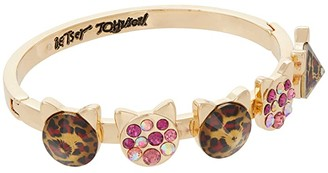 Betsey Johnson Cat Hinged Bangle (Leopard) Bracelet