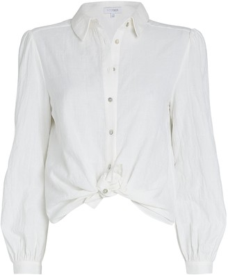 Intermix Etta Tie-Hem Cotton Blouse