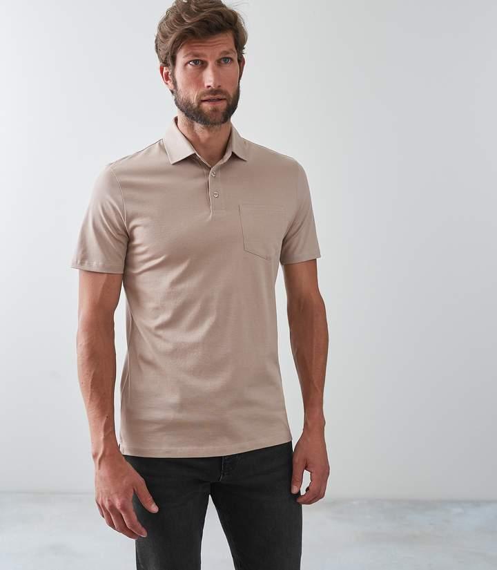 Reiss ELLIOT Mercerised Polo Shirt Sand