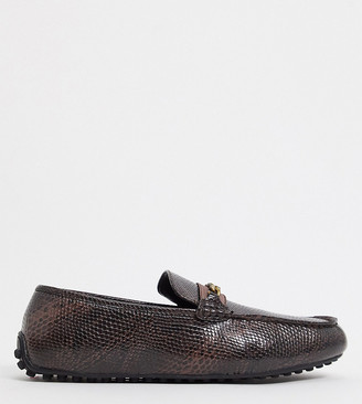 ASOS DESIGN Wide Fit driving shoes in snake print in faux leather with chain