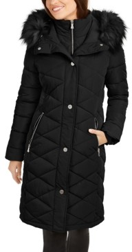 Calvin Klein Petite Quilted Faux-Fur-Trim Hooded Puffer Coat