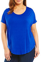 Moa Moa Plus Short Sleeve High Low Knit Top