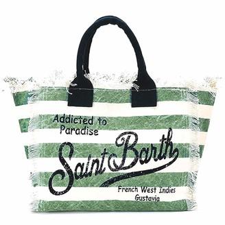 MC2 Saint Barth Military Green Striped Canvas Beach Bag