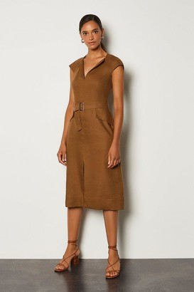 Karen Millen Italian Linen Envelope Neck Dress