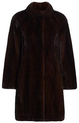 The Fur Salon Mink Fur Stand Collar Coat