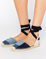 Soludos Patchwork Denim Classic Ankle Tie Flat Shoes