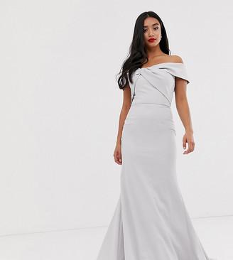 Jarlo Petite knot front bardot maxi dress in silver grey