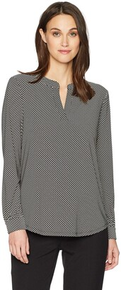 Anne Klein Women's Dot Print V-Neck Tunic