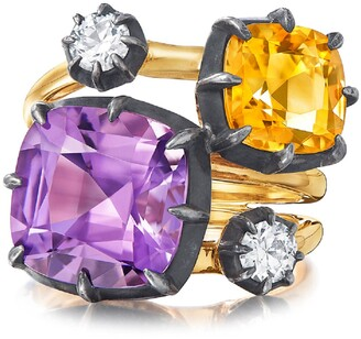 Fred Leighton Collet Cushion Amethyst, Citrine & Diamond Cocktail Ring