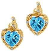 Gem Stone King 2.07 Ct Heart Shape Swiss Blue Topaz White Diamond 14K Yellow Gold Earrings
