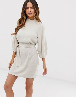 Asos Design DESIGN linen mini dress with tie belt-Cream