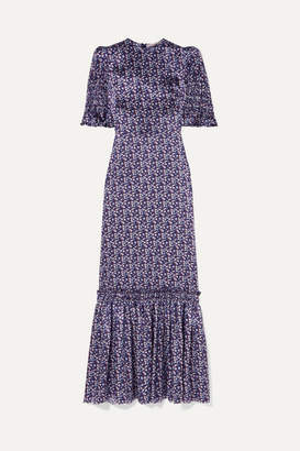 The Vampire's Wife Ruffled Floral-print Silk-satin Maxi Dress - Purple