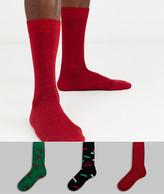 Asos Design DESIGN ankle sock with christmas glitter thread glitterball print 3 pack
