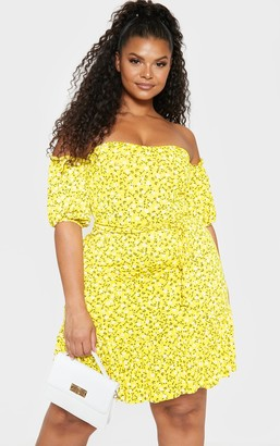Bardot Fashpoin Plus Yellow Ditsy Print Frill Hem Skater Dress
