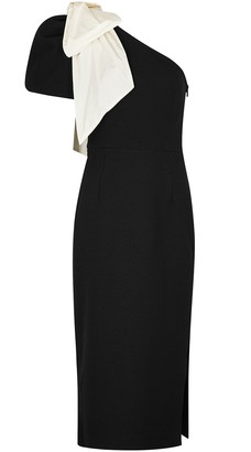 Rebecca Vallance Lavanda black bow-embellished midi dress