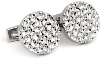 Hickey Freeman Rhodium Plated Hammered Round Cuff Links