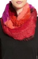 Jocelyn Colorblock Genuine Rabbit Fur Infinity Scarf