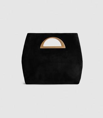 Reiss BELGRAVIA SUEDE FOLD OVER CLUTCH BAG Black