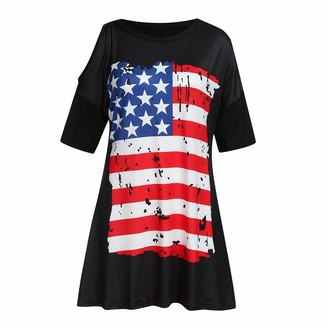 BOIYI Women's Dress Summer Ladies Holiday Casual Plu Size American Flag Printed Short Sleeve Mini Dress(Black XXXL)