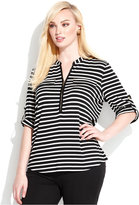 Calvin Klein Plus Size Striped Zipper-Neck Top