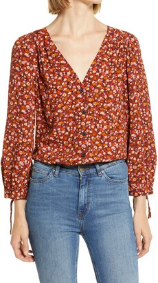 Madewell Spring Prairie Tie Sleeve Button Front Top